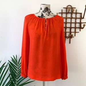 Tory Burch Orange 100% Silk Blouse